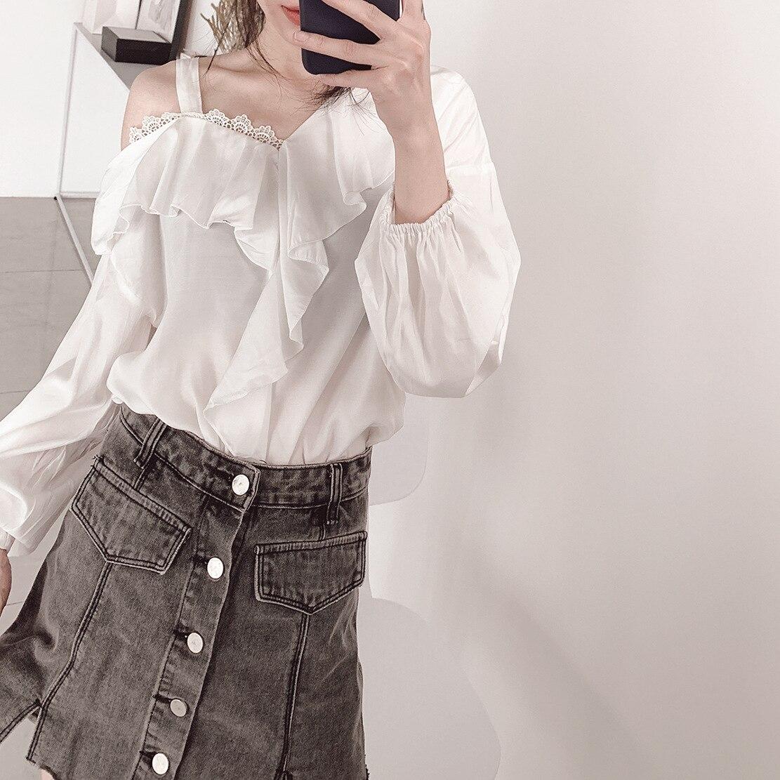 Automne coton mélangé blanc volants hors épaule hauts femmes Blouses mode coréenne grande taille lanterne à manches longues dentelle chemise