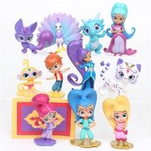 12 개/대 Shimmer 자매 액션 피규어 장난감 Samira 애완 동물 호랑이 Nahal 원숭이 드래곤 인형 장난감 귀여운 샤인 소녀 크리스마스 선물 7CM