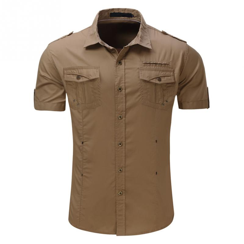 Mens short sleeve Shirt Men Cargo Shirts Fashion Casual Shirt Summer Solid Mens Military Shirts Plus Size M-2XL