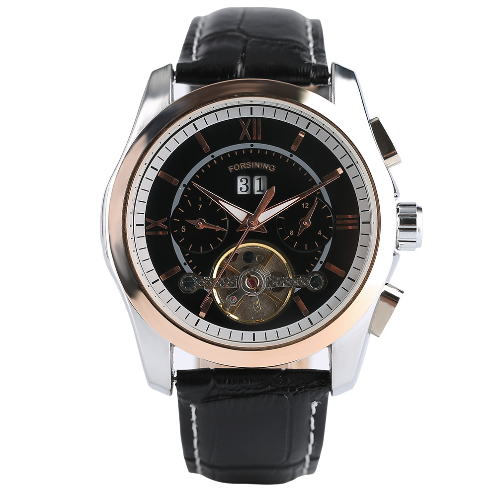 FORSINING Luxury Sport Men Quartz Wristwatch Chronograph Date Display Roman Number Dial Black Genuine Leather Band Male Watch forsining luxury mmechanical men wristwatch genuine leathe band unique design dial cost effective male casual fashion watch