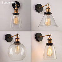 Vintage Wall Lamp Antique Clear Glass Wall Lights Retro Industrial Lamp Single head Bedroom Bedside Lamp Living Room Lights E27
