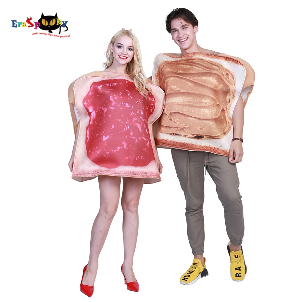 2 Piece/Set Couple Dress Sandwich Couples Adult Costume Toast Funny Food Costumes Jumpsuit Halloween Party Fancy Derss Carnival