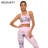 2 Piece Pink Cortton Letter Fruit Printed Yoga Set Sport Wear Women Workout Bra & Leggings Tight Fitness Gym Clothing Tracksuit