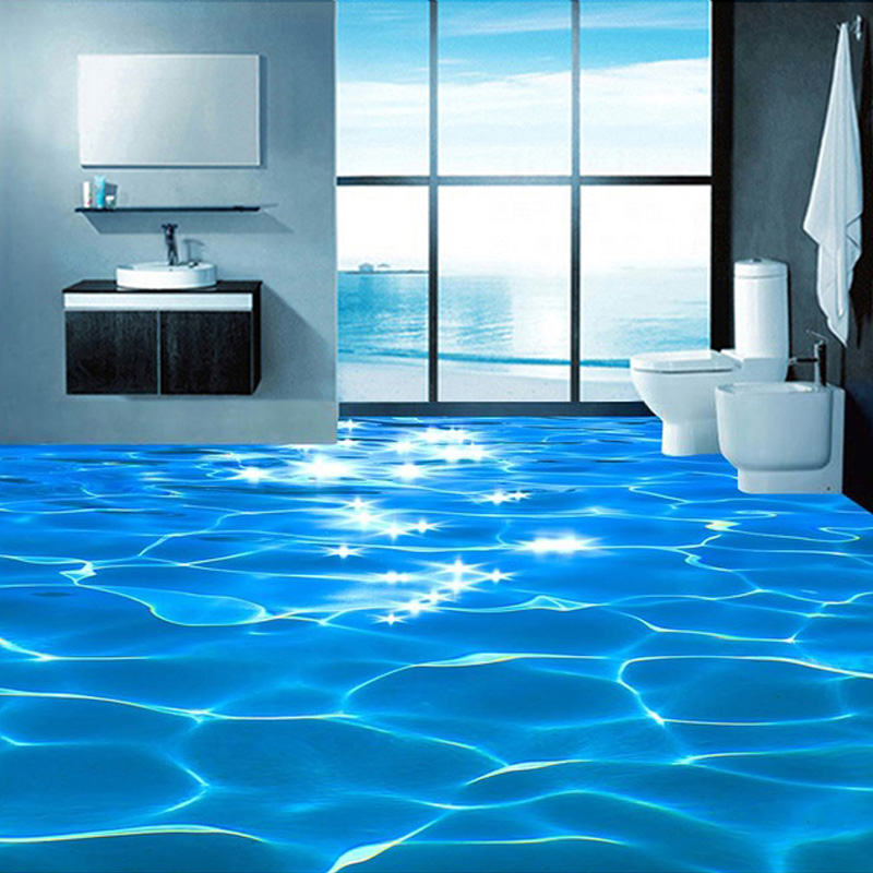 Custom Photo Floor Wallpaper 3D Sea Water Ripples Hotel Bathroom Mural PVC Self Adhesive