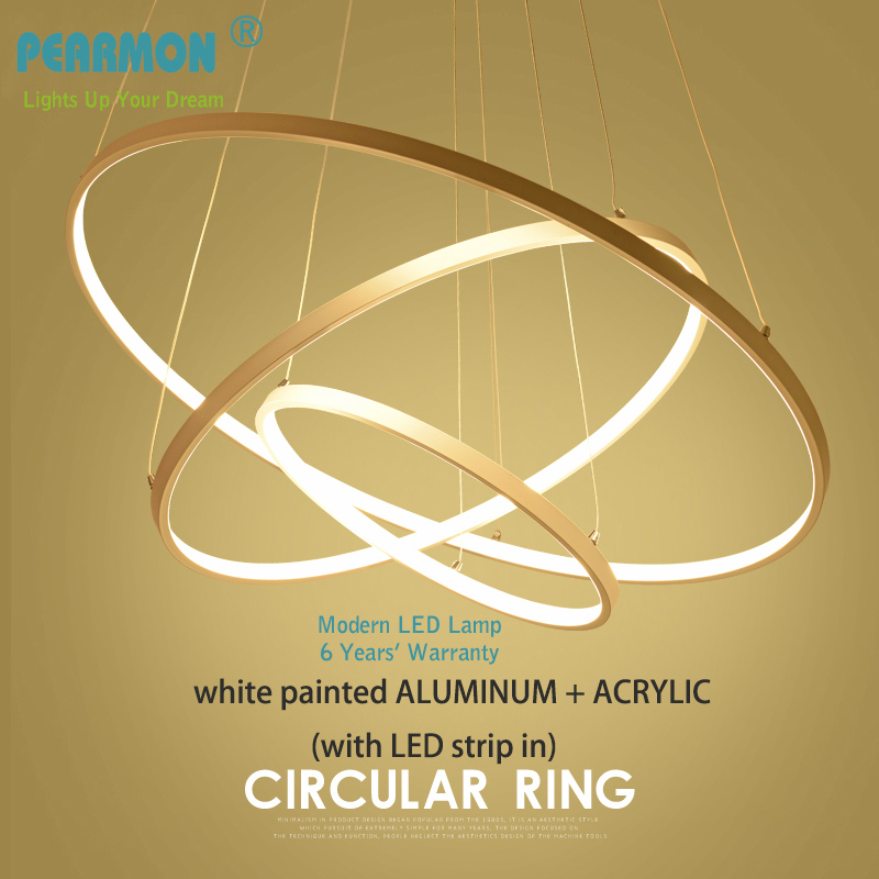 Modern LED Chandelier Lamp Acrylic + Aluminum Pendent Lights Circle Rings Pendent lamp for Dinning Room Living Room Office using стоимость