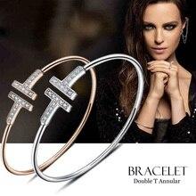 Т-образные pulsera двойные манжеты открыть cz крест позолоченные металлические или браслеты