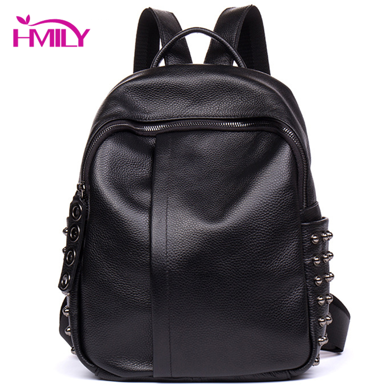 HMILY Genuine Leather Women Backpack Large Capacity Shoulder Bag Real Leather Female Bag Fashion Daily Travel Bag Balck Trendy стоимость