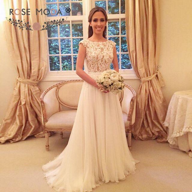 Short Lace Cap Sleeves Chiffon Beach Wedding Dress With Low V Back