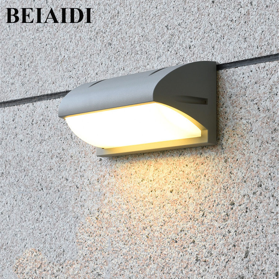 BEIAIDI 10W Modern Waterprood Led Wall Lamp Outdoor Villa Garden Courtyard Patio Porch Light Outside Building Wall Sconces Decor beiaidi ip54 10w waterproof led wall lamp outdoor led porch lights modern villa patio fence garden balcony gateway wall lights