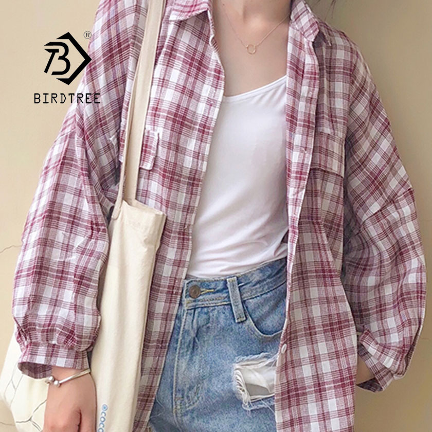 2019 New Woman Office Lady Plaid Shirt Single Breasted Turn Down Collar Cotton Pocket Long Sleeve Button Feminina Sale T8D508Z