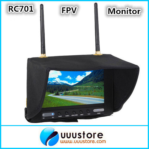 Boscam RC701 5.8GHz Wireless FPV 7TFT LCD Diversity Receiver Monitor w/ Sunhood Antenna boscam dv01s fpv 8 channel 5 8g wireless receiver dvr wireless audio