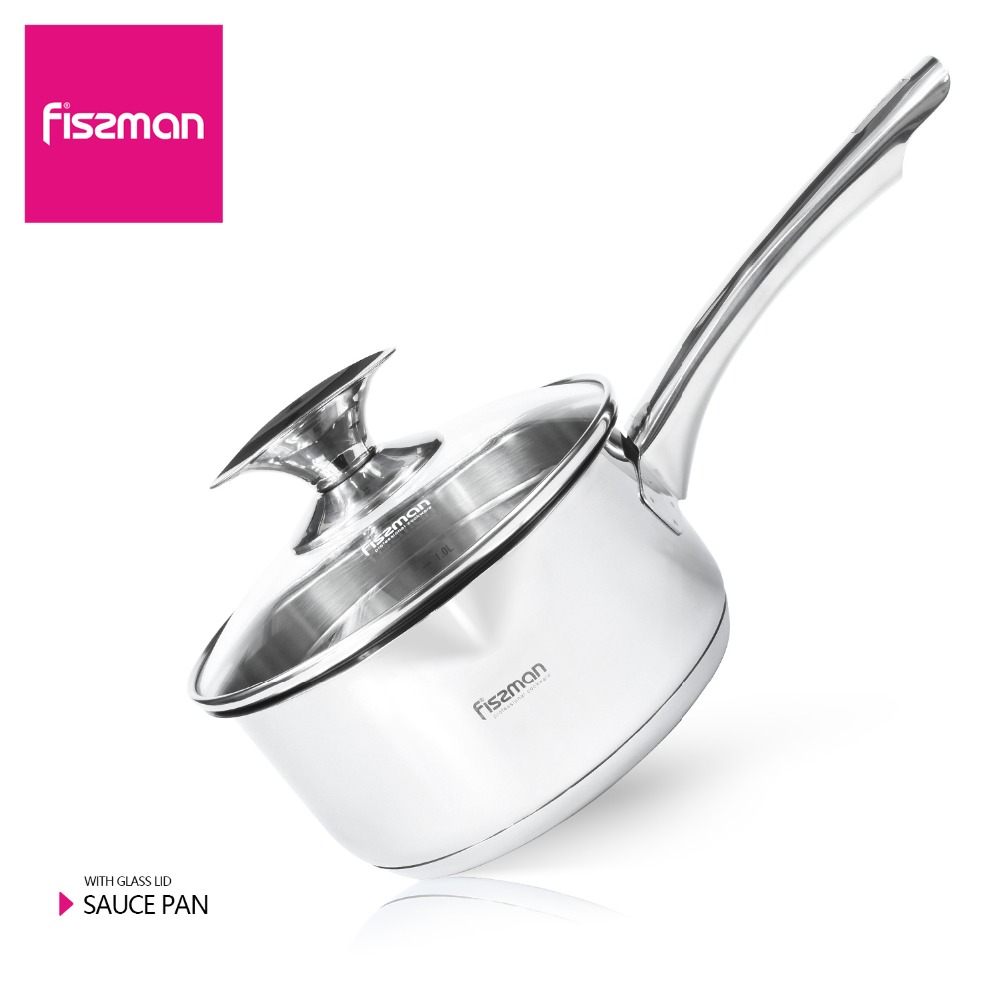 FISSMAN Sauce Pans Stainless Steel 1.6L STAINLESS STEEL ELEGANCE series with glass lid
