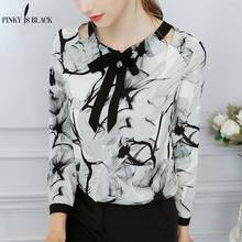 Pinky Is Black Long Sleeve Print Shirt Blouse Women 2019 O-neck Collar Women Blouse Tie Bow Chemisier Femme Casual Blusas Female foldover neck belted bow tie sleeve blouse