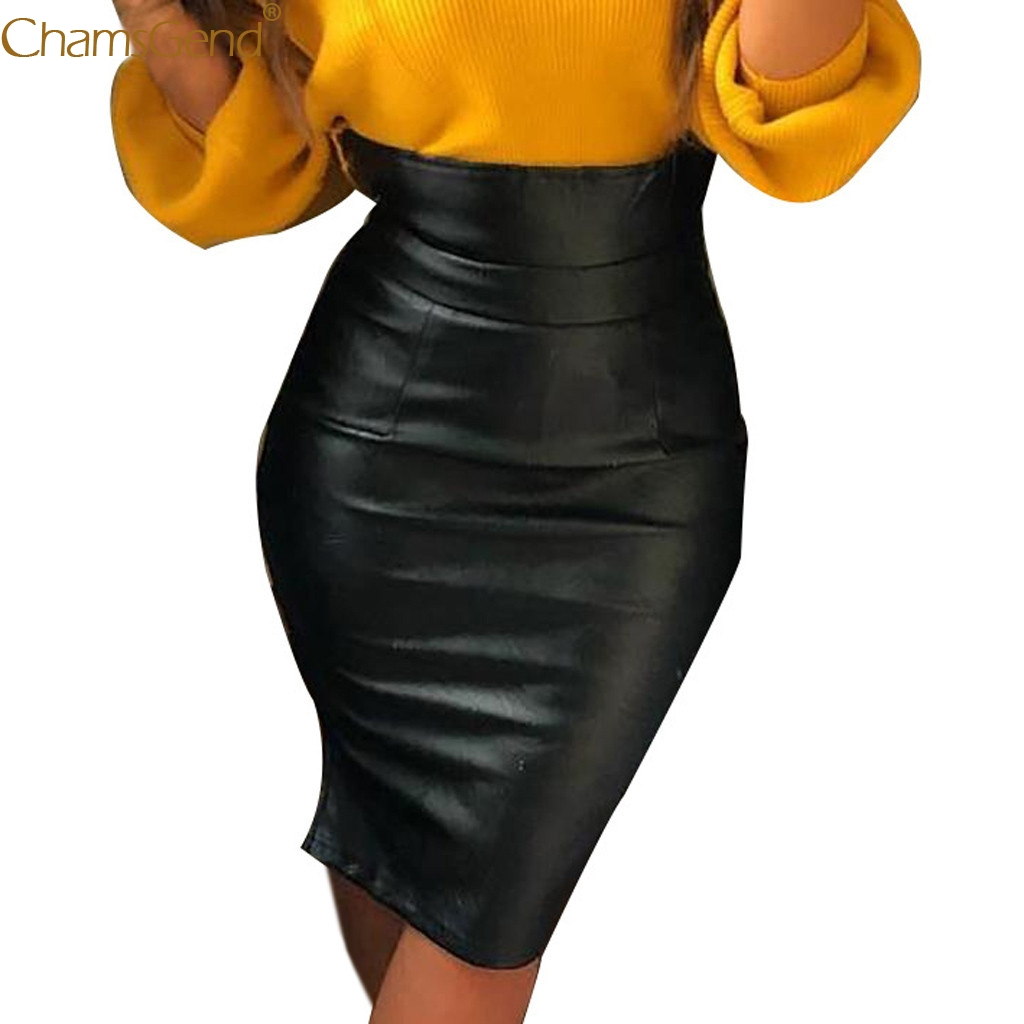 Womens Black skirt Knee-Length Pencil Female Vintage High Waist Leather Paint Pencil Skinny Slim Short Mini Skirt Autumn Dec28