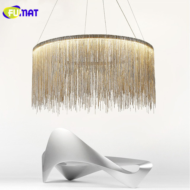 Fumat Fringed Chains Pendant Lights Led Modern Living Room Luminaire Stairs Light Fixture Round Hanging Lamp