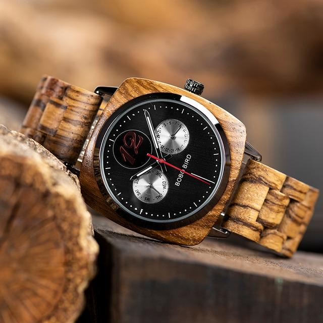 Montre homme BOBO oiseau en bois Quartz montre bracelet homme Saat erkek montres montre Date semaine créer horloge en bois boîte relogio masculino 3