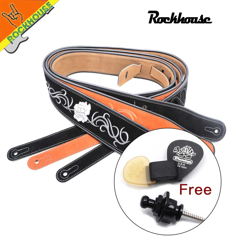 Double Frosted Leather Electric Guitar Strap Bass Straps Chinese Embroidery Picture Anti-crease super soft durable with giveaway