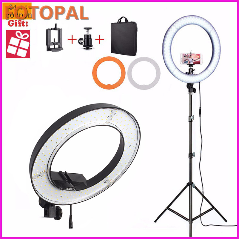Fotopal 240PCS LED Ring Selfie Light Camera Photo Studio Phone Video Photography Dimmable Annular Makeup Lamp