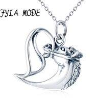 FYLA MODE 925 Sterling Silver Necklace Jewelry Collier Heart Horse Head Pendant Necklace Fashion Women jewelry bijoux coeur