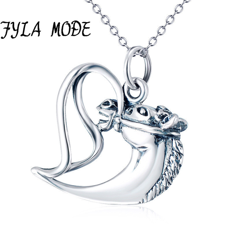 FYLA MODE 925 en argent Sterling Collier bijoux Collier coeur cheval tête pendentif Collier MODE femmes bijoux coeur