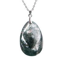 Fashion Jewelry Pendant Natural Green Phantom Quartz Crystal Beads Water Drop Ghost Gem Stone Jewelry Pendant Necklace35*22*14mm