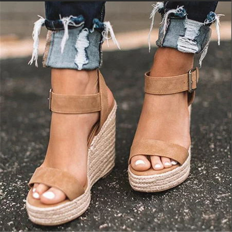 HTB1uLmvX81D3KVjSZFyq6zuFpXaV Women Shoes Platform Sandals Women Peep Toe High Wedges Heel Ankle Buckles Sandalia Espadrilles Female Sandals Shoes