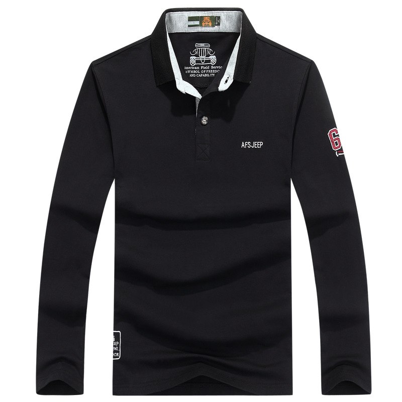 AFS JEEP Long Sleeves   Polos   Shirt Men Cotton Autumn   Polos   para hombre Solid Casual Letters Logo Full Tops & Tees Big Size M-XXXL