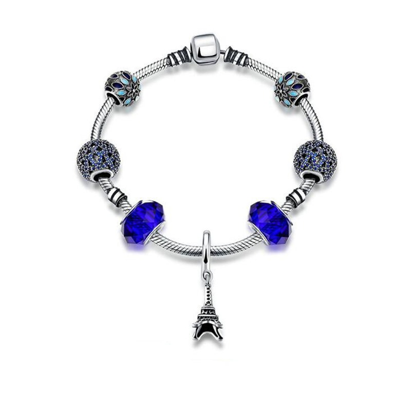 Authentic 925 Sterling Silver Jewelry Eiffel Tower Pendant Charms Bracelets & Bangles with Beads Charm for Women Valentines Gift eiffel tower charm bangle