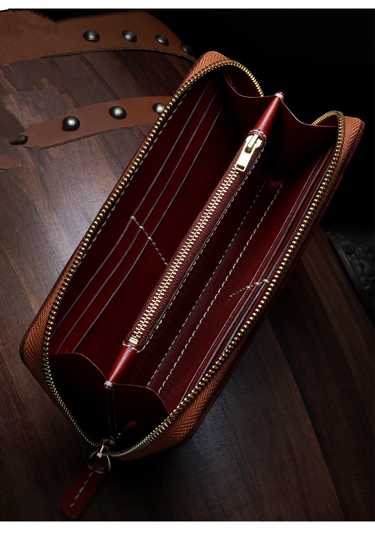 Купить с кэшбэком Cow Leather Wallets Nine Palace Cards Pure Copper Bag Purses Women Men Long Clutch Vegetable Tanned Leather Wallet Card Holder