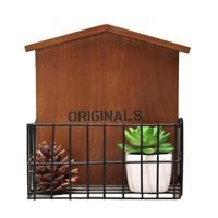Retro Iron Wooden Wall Shelves Storage Box Cargo Organizer Kitchen Bathroom Wood Storage Rack Shelf Potted Plants Phone Holder