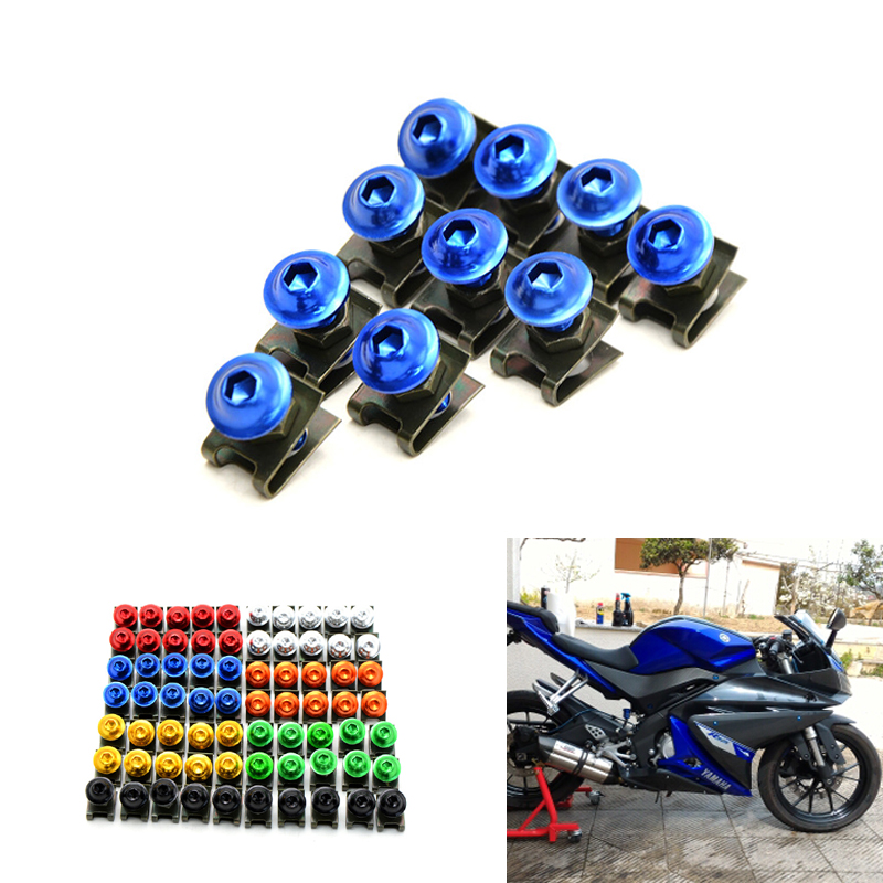 10pcs 6mm CNC Motorcycle Fairing body work Bolts Screws For suzuki bandit 650 GSX R 750 600 SV 1000 S SV 650 KTM KAWASAKI YAMAHA 5 pieces 6mm motorcycle accessrioes fairing body screws for suzuki gsxr 750 kawasaki z1000sx zx6r bmw r1200gs 16 15 14 13 12 11