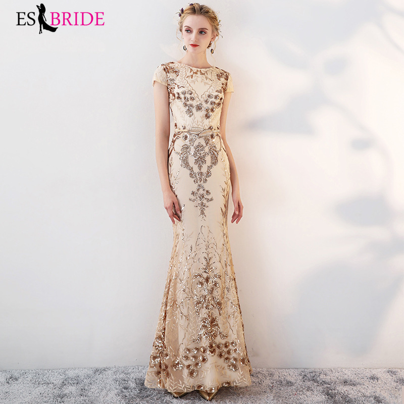 Gold Luxury Long   Evening     Dresses   Gorgeous Shiny Bead Piece   Evening     Dress   Mermaid Princess Formal   Dress   Women Elegant ES2642