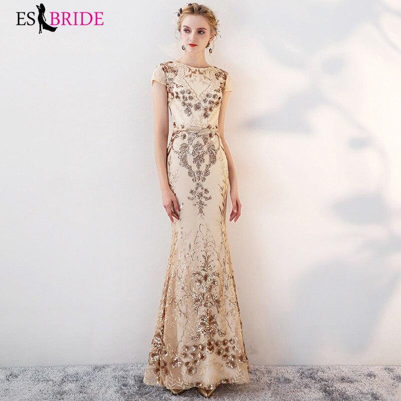 Robes de soirée longues de luxe en or magnifique perle brillante pièce robe de soirée sirène princesse robe formelle femmes élégantes ES2642