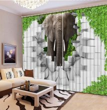 photo 3d curtains Elephant brick wall bed room high shading blackout curtain living room window curtain bed room lace(China)