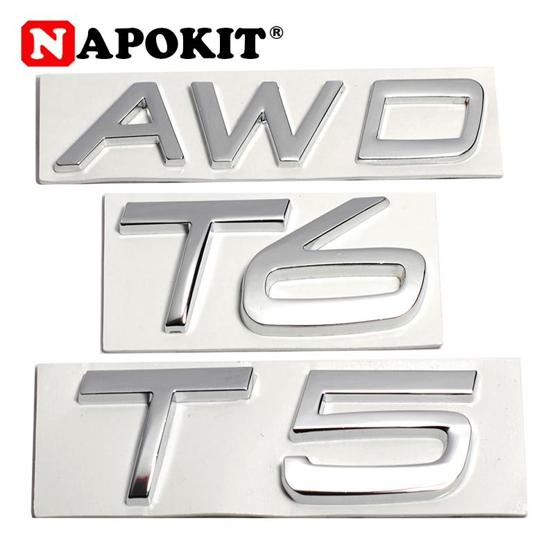 3D Metal T5 T6 AWD LOGO Emblems Badges Car Sticker Letter Decal Car Styling for Volvo XC60 XC90 S60 S80 S60L V40 V60 Tail Fender-in Car Stickers from Automobiles & Motorcycles