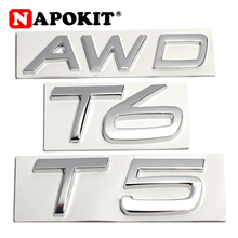 3D Metal T5 T6 AWD LOGO Emblems Badges Car Sticker Letter Decal Car Styling for Volvo XC60 XC90 S60 S80 S60L V40 V60 Tail Fender