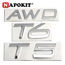 3D Metal T5 T6 AWD LOGO emblematy odznaki naklejki samochodowe list naklejka Car Styling dla Volvo XC60 XC90 S60 S60L V40 V60 ogon błotnik