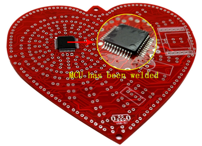 Image 4 - zirrfa New green heart shaped diy kit lights cubeed gift ,led electronic diy kit-in Integrated Circuits from Electronic Components & Supplies