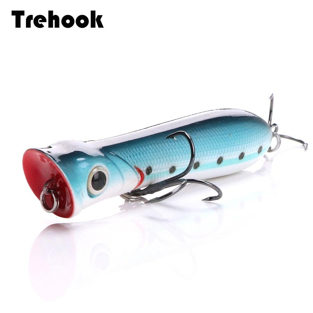 TREHOOK 8cm 12g Popper Fishing Lure Top Water Cranks Wobblers Pike Crankabit Fishing Popper Lure Hard Bait For Fishing Tackle