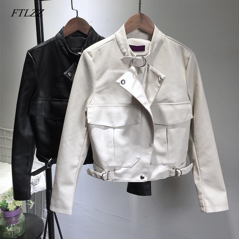 FTLZZ New Women Vintage Pu   Leather   Jacket Autumn Winter Short Design Loose Faux   Leather   Jacket Street Outwear