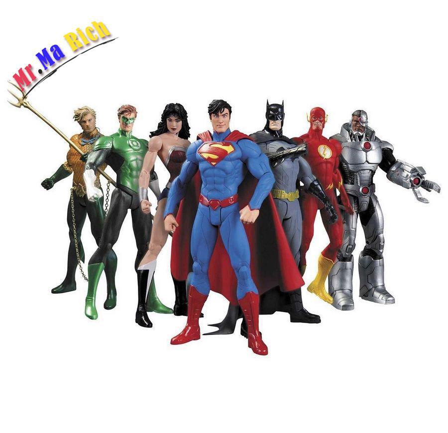 7 Pcs Justice League Superman Batman Flash Aquaman Dc Universe Action Figure New xinduplan dc comics justice league crazy toys batman superman action figure 12 inches large pvc collection model 0980