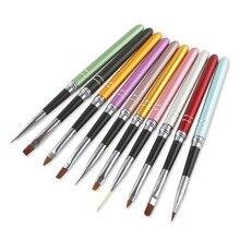 10 Pcs Colorful Metal UV Gel Design Polish 3D Nail Art Painting Brush Pen Set