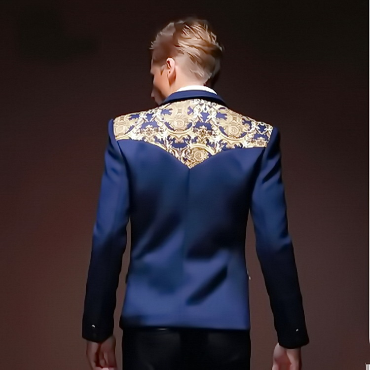 Online Shop 2015 Navy Blue Blazers Men's Slim Fit Gold Floral ...