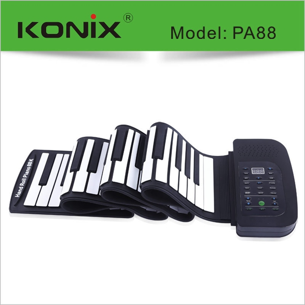 88 Keys MIDI Flexible Electronic Roll Up Piano Soft Silicone Hand-rolling Piano With Battery Pedal88 Keys MIDI Flexible Electronic Roll Up Piano Soft Silicone Hand-rolling Piano With Battery Pedal