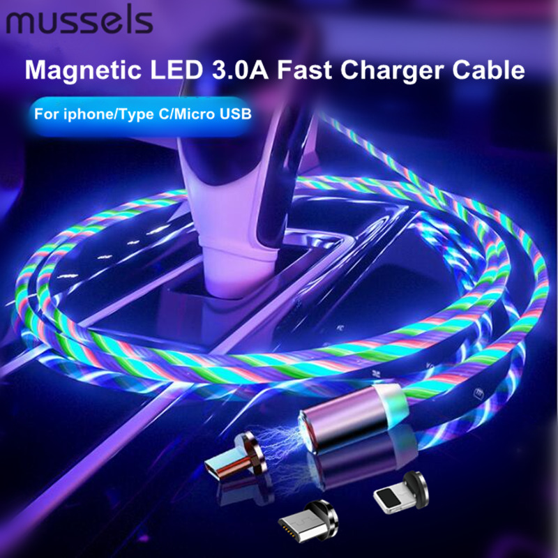 Colorful LED Light Magnetic Phone Cable Fast Charging Micro USB Type C Cable Charger