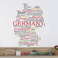 German Map Wall Sticker Map Of Germany Wall Decal 3D Modern German Map Wallpaper Decorating Modern Decor Office Stickers M37