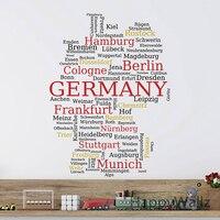 Allemand Carte Mur Autocollant Carte De Allemagne Sticker 3D Moderne Allemand Carte Papier Peint Décoration Moderne Décor Bureau Autocollants M37