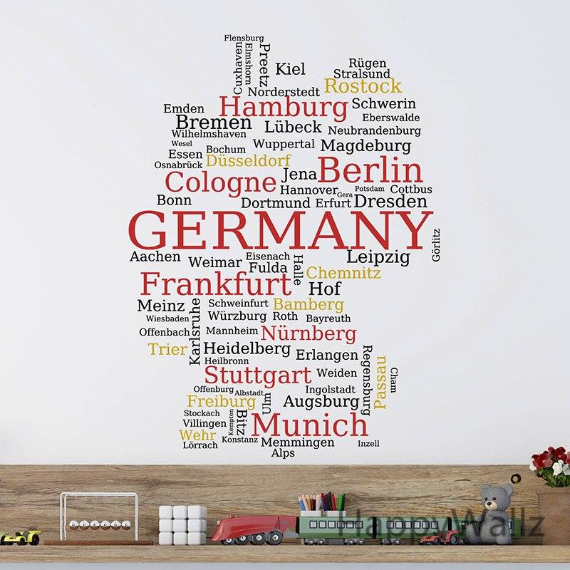 Carte allemande Sticker mural carte de l'allemagne Sticker mural 3D moderne allemand carte papier peint décoration moderne décor bureau autocollants M37