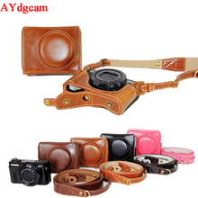 Luxury Leather Camera Case For Canon Powershot G7X Mark 2 G7X II G7XII Digital Camera PU Leather Camera Bag Cover + strap