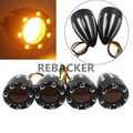 CNC Black Motorcycle Front Rear Turn Light Indicator Led Lights For Harley Sportster Touring Dyna Softail, 1 or 2 Pair